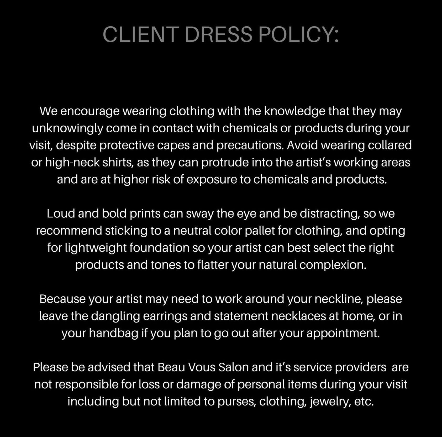 Client Dress Policy