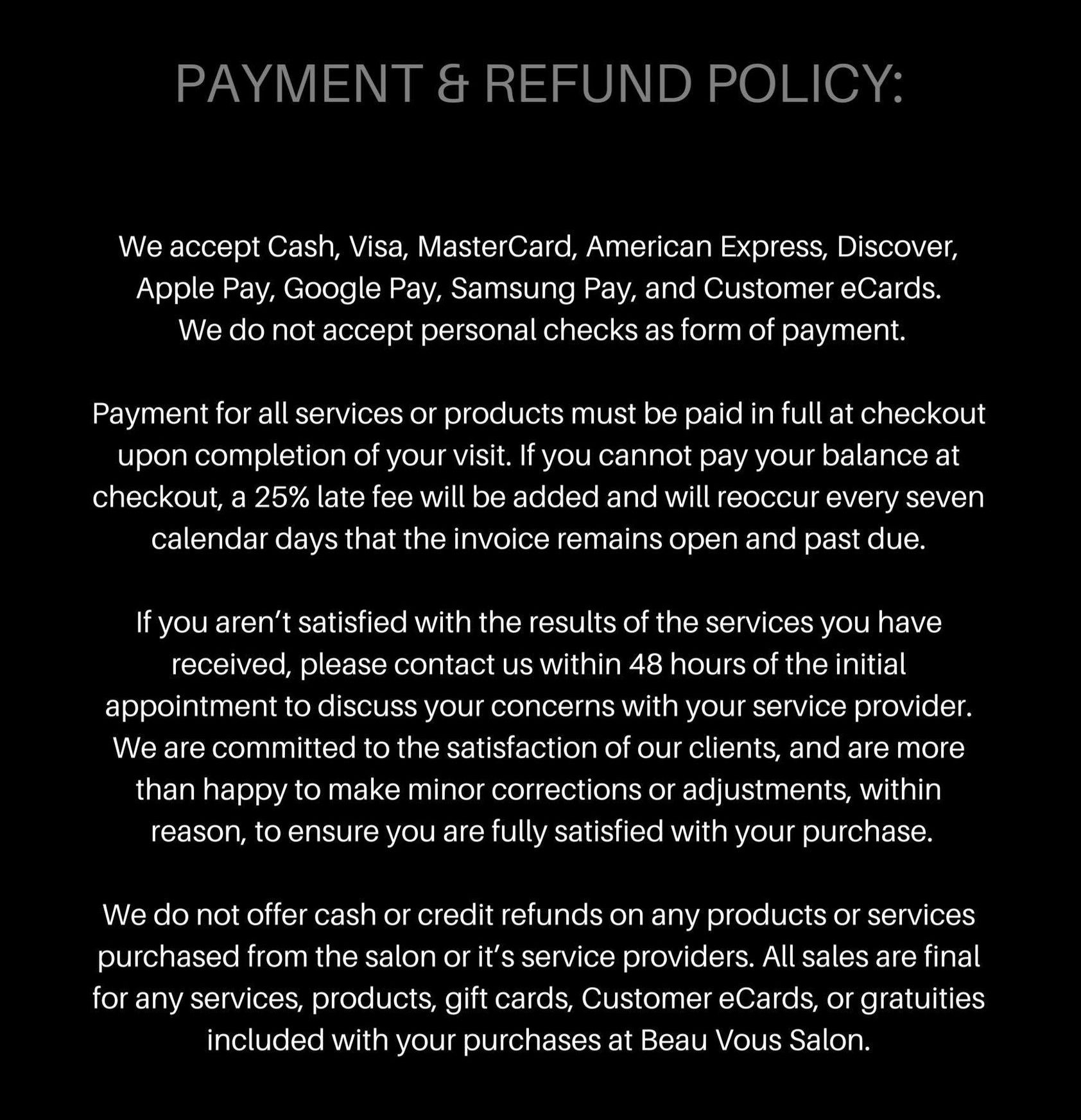Payment & Refund Policy